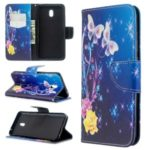 Pattern Printing Cross Texture Wallet Stand Flip Leather Phone Case for Xiaomi Redmi 8A – Flower and Butterfly