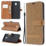 Assorted Color Jeans Cloth Leather Wallet Casing for Xiaomi Redmi 8A – Brown
