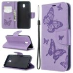 Imprint Butterfly Leather Wallet Stand Case for Xiaomi Redmi 8A – Purple
