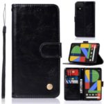Premium Vintage Leather Stand Case with Card Slots for Google Pixel 4 XL – Black