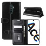 Crazy Horse Skin Texture Wallet Leather Phone Case for Oppo Reno Ace/Realme X2 Pro – Black