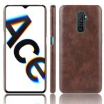 Litchi Texture PU Leather+PC Phone Cover for Oppo Reno Ace / Realme X2 Pro – Brown