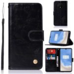 Premium Vintage Leather Wallet Shell Case for OnePlus 7T – Black
