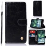Premium Vintage Leather Wallet Case for Nokia 7.2 / 6.2 – Black