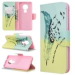 Pattern Printing Wallet Stand Leather Phone Cover for Nokia 6.2 / Nokia 7.2 – Feather