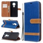 Two-color Jean Cloth PU Leather Phone Shell Case for Nokia 7.2/6.2 – Baby Blue