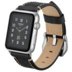Crazy Horse Skin Genuine Leather Coated Smart Watch Band for Apple Watch Series 5/4 44mm / Series 3/2/1 42mm – Black