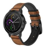 Genuine Leather Coated Silicone Smart Watch Band for Garmin Vivoactive 3/Vivomove HR
