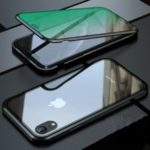 Eyes-caring Magnetic Metal Frame + Tempered Glass Protective Case for iPhone XR 6.1 inch – Black