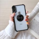 Drop-resistant Anti-slip TPU+Acrylic Phone Ring Holder Case Covering for iPhone X/XS 5.8 inch – Black