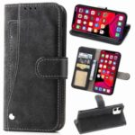 Matte Leather Wallet Stand Phone Cover with Rotary Card Holder Shell for iPhone 11 6.1 inch – Black