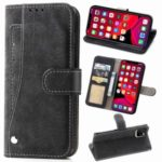Matte Leather Wallet Stand Rotary Card Holder Cell Phone Cover for iPhone 11 Pro 5.8 inch – Black