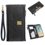 MOLAN CANO Zipper Pocket Leather Wallet Phone Cover Shell with Strap for iPhone XS / X 5.8-inch – Jet Black