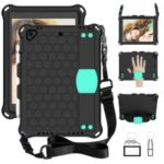 Honeycomb Texture EVA Tablet Cover with Shoulder Strap for Apple iPad 9.7-inch (2018)/(2017) / Air 2 / Air (2013) – Black/Cyan