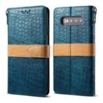 Crocodile Skin Splicing PU Leather with Strap Wallet Case for Samsung Galaxy S10 Plus – Cyan