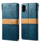 Crocodile Surface Splicing PU Leather Wallet Case for Samsung Galaxy Note 10 Plus 5G / Note 10 Plus – Cyan