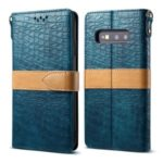 Crocodile Surface PU Leather Cover with Strap for Samsung Galaxy S10e – Cyan
