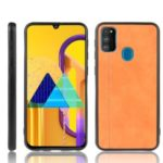 PU Leather + PC + TPU Unique Design Case for Samsung Galaxy M30s – Brown