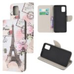 For Samsung Galaxy A51 Pattern Printing Wallet Stand PU Leather Mobile Shell Case – Eiffel Tower