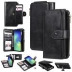 For Samsung Galaxy S10e Multi-functional Retro Detachable Leather Wallet Phone Cover – Black