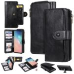Multi-functional Retro Leather Wallet Case Covering for Samsung Galaxy S10 – Black
