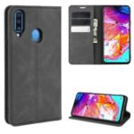 Silky Touch Leather Wallet Stand Case for Samsung Galaxy A20s – Black