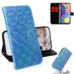 Flower Pattern Leather Wallet Case for Samsung Galaxy A70s – Blue