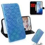 Flower Pattern Leather Wallet Stand Case for Samsung Galaxy S11e – Blue
