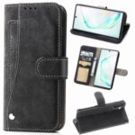 Matte Leather Wallet Stand Phone Cover Case with Rotary Card Holder for Samsung Galaxy Note 10 / Note 10 5G – Black