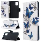 Pattern Printing Wallet Stand Flip Leather Case for Samsung Galaxy A71 – Blue Butterflies