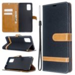 Color Splicing Jeans Cloth Skin Wallet Leather Case for Samsung Galaxy A71 – Black