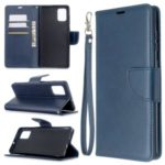Solid Color PU Leather Wallet Stand Phone Casing for Samsung Galaxy A71 – Dark Blue