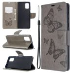 Imprint Butterflies Wallet Stand Flip Leather Case for Samsung Galaxy A71 – Grey