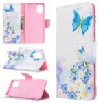 Pattern Printing Wallet Leather Flip Phone Cover for Samsung Galaxy A71 – Butterflies and Flowers