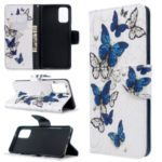 Pattern Printing Wallet Stand Flip Leather Shell for Samsung Galaxy S11 – Blue Butterflies