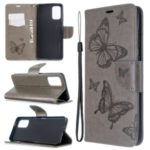 Imprint Butterfly Wallet Leather Stand Case for Samsung Galaxy S11 – Grey