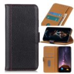 Litchi Skin Wallet Flip Leather Phone Casing for Samsung Galaxy A91 – Black