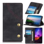 Jeans Cloth Leather Wallet Case for Samsung Galaxy A01 – Black