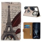 Pattern Printing PU Leather Wallet Stand Phone Cover for Samsung Galaxy A91/S10 Lite – Eiffel Tower and Letters