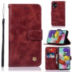 Premium Vintage Leather Wallet Case for Samsung Galaxy A71 – Wine Red