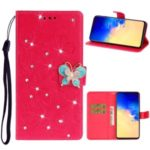 Imprint Butterfly Rhinestone Decor Wallet Leather Case for Samsung Galaxy A71 – Red