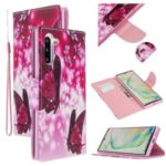 Pattern Printing Cross Texture Leather Wallet Phone Shell for Samsung Galaxy Note 10 5G/Note 10 – Red Butterflies