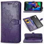 Embossed Mandala Flower Wallet Leather Stand Phone Cover for LG K20 (2019) – Purple