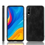 Hybrid PC + TPU Mobile Shell with Leather Coated Skin for Huawei Enjoy 10/Honor Play 3 – Black