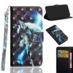 Light Spot Decor Patterned Leather Wallet Shell for Motorola Moto E6 Play – Wolf