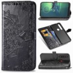 Embossed Mandala Flower Wallet Leather Stand Cell Phone Cover for Motorola Moto G8 Plus – Black