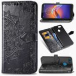 Embossed Mandala Flower Leather Wallet Covering Phone Case for Motorola Moto E6 Play – Black