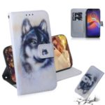 Pattern Printing Wallet Stand Flip Leather Phone Case for Motorola Moto E6 Play – Wolf