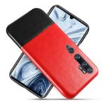 KSQ PU Leather Coated Dual-color Splicing PC Back Shell for Xiaomi Mi CC9 Pro/Mi Note 10 – Red/Black