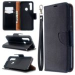 Litchi Skin Wallet Leather Stand Case for Xiaomi Redmi Note 8T – Black